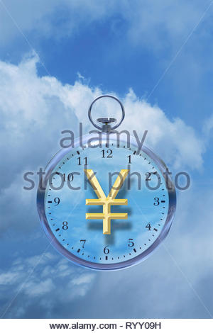 Time is money time management time cost watch with Japanese Yen ¥ sign in the clouds. - Stock Image