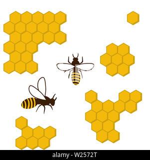 beehive honeycomb bee food sweet   honey  natural illustration - Stock Image