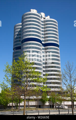 MUNICH - GERMANY April 20, 2019: Headquarter and museum of famous car maker BMW in Munich, Germany. - Stock Image