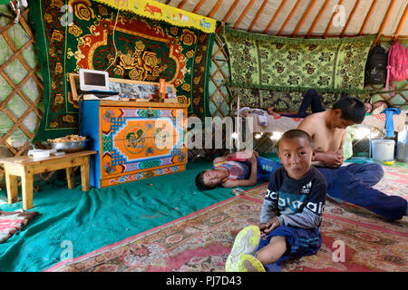 Interior of a Mongolian ger. - Stock Image