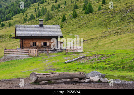 Mountain hut in the alps - Stock Image