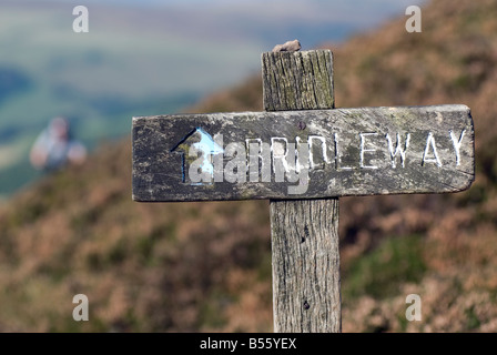 Bridleway signpost in the Peak District National Park Derbyshire UK England GB Great Britain - Stock Image