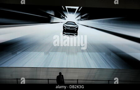 Mercedes presents the car study F125 in a video at the International Motor Show IAA in Frankfurt, Germany, 13 September - Stock Image