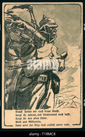 Germany, Hamburg, Altona, WW I, patriotic postcard ' Altona´s day for the victims on the 18. 01. 1916 to the best of the war help of Altona ' with an drawing of an soldier and a horse together with a poem  ' Drauß halten wir euch treue Wacht... ', artists are unknown., Additional-Rights-Clearance-Info-Not-Available - Stock Image