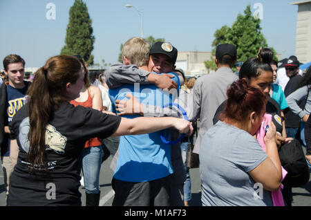 Sunburst Youth ChalleNGe Academy cadets were reunited with their loved ones at Family Day today after more than - Stock Image