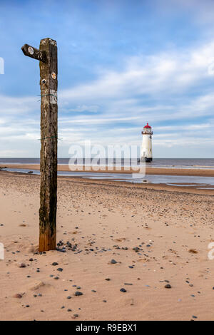 Point of Ayr lighthouse on Talacre beach on th North Wales coast - Stock Image