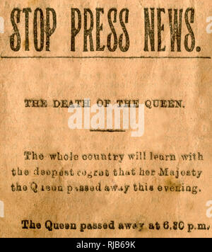 The Star newspaper stop press, death of Queen Victoria, 22 January 1901. - Stock Image