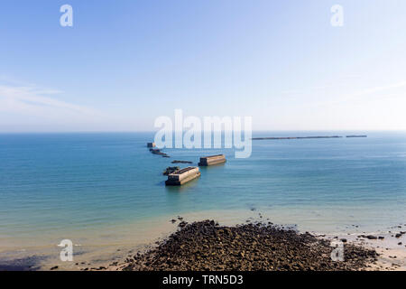 The Remains of the Mulberry Harbour on the Beach of Arromanches-les-Bains,, Normandy, France, Europe - Stock Image