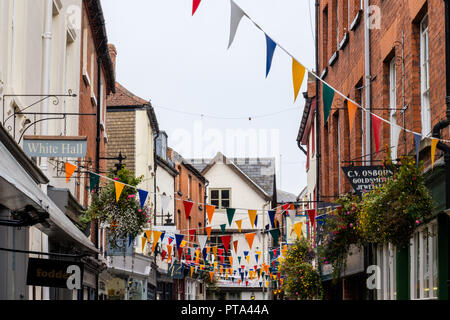 Bunting in Church Street, Hereford, Herefordshire - Stock Image
