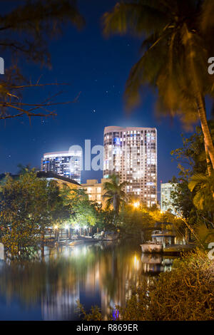 A view of Downtown Fort Lauderdale from the Las Olas Boulevard district. Fort Lauderdale is appropriately nicknamed The Venice of America. - Stock Image