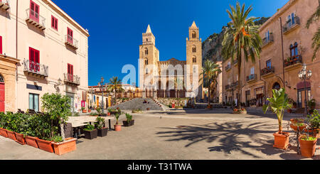 Cefalu Cathedral, Sicily, Italy - Stock Image