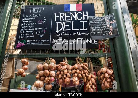 BOROUGH MARKET AUTHENTIC FRENCH DELI PRODUCE STALL  'Le Marché du Quartier' Authentic friendly charming French produce market stall display at Borough Market Southwark London UK - Stock Image