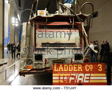 Inside of the National September 11 (9/11) Memorial and Museum. Ladder Company 3's fire truck damaged beyond repair by the collapse of the Twin Towers - Stock Image
