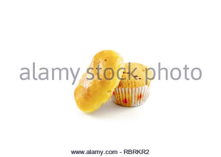 cupcake and cookies with cheese flavor isolated white background - Stock Image