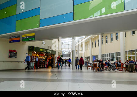M&S Simply Food & Atrium - Broomfield Hospital, Court Road, Broomfield, Chelmsford, Essex, UK - Stock Image