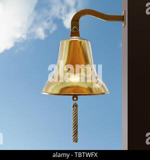 Nautical Ship Bell on sky background. Bronze metal shines in the sun. Equipment for sailboat and yacht. Concept of clock and ring signal. 3D render Il - Stock Image