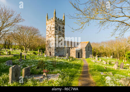 The medieval church of St Wynwallow in the village of Landewednack, near Lizard, on the Lizard Peninsula of Cornwall, England. - Stock Image