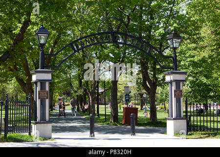 June 23, 2018- St. Johns, Newfoundland: The wrought iron gate entrance to the beautiful green space called Bannerman Park in St. John's City centre - Stock Image