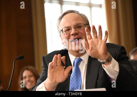 U.S. Acting Secretary of the Interior David Bernhardt testifies in the Senate Energy and Natural Resources Committee hearing at the U.S. Capitol March 28, 2019 in Washington, DC - Stock Image