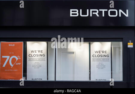 Closure of Burton Menswear shop and 70% off sale, Bishop Auckland, Co. Durham, England, UK - Stock Image