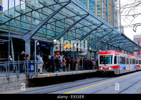 The 1st Street Southwest Train Station in Calgary, Alberta Canada. - Stock Image