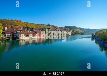 River Rhine with Eglisau, Zurich, Switzerland - Stock Image