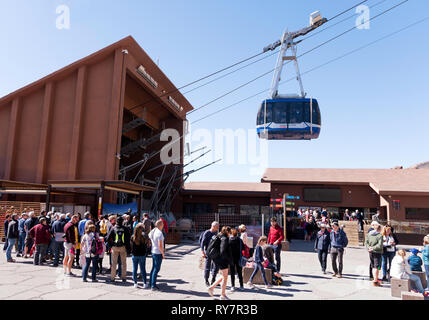 People queuing for the cable car up to Mount Teide,  Tenerife, Canary Islands - Stock Image