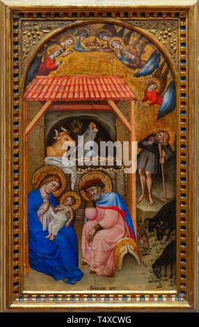 Nativity, Simone di Filippo, circa 1380, Galleria degli Uffizi, Uffizi Gallery, Florence, Tuscany, Italy - Stock Image