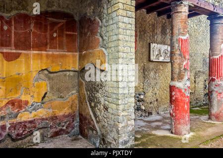 House of the Relief of Telephus, Herculaneum Campania, Italy - Stock Image