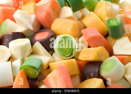 Chopped soup or casserole vegetables close up. - Stock Image