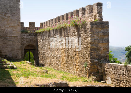 Italy Sicily Enna old mountain town 970m Castello di Lombardia Castle of Lombardy built 1076 site of Sican Temple of Ceres - Stock Image