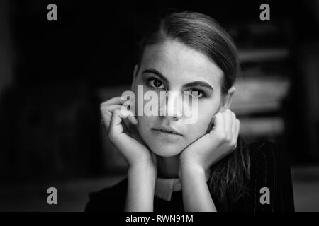 Art black and white portrait of a beautiful girl. Gorgeous redhead girl, portrait in natural light. Vogue fashion style portrait of young pretty beaut - Stock Image