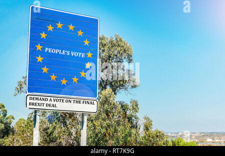 People's Vote is a British campaign group calling for a public vote on the final Brexit deal between the United Kingdom and the European Union. - Stock Image