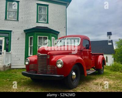 International 1940's red pick up truck - Stock Image