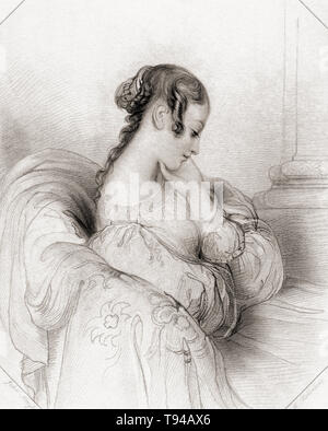 Helena.  Principal female character from Shakespeare's play All's Well That Ends Well.  From Shakespeare Gallery, published c.1840. - Stock Image