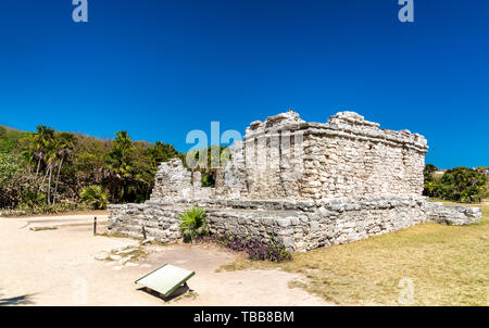 Ancient Mayan ruins at Tulum in Mexico - Stock Image