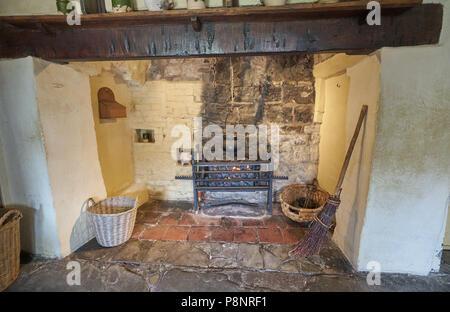 tudor fire place Shakespeare's birhplace - Stock Image