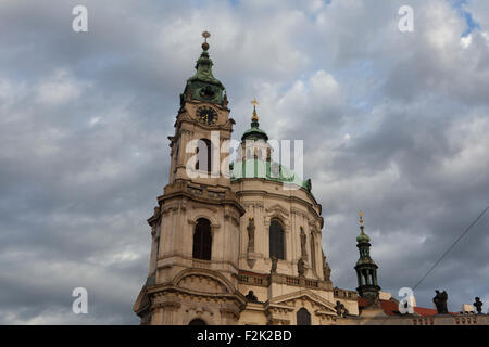 Saint Nicholas' Church at Mala Strana designed by Baroque architect Christoph Dientzenhofer in Prague, Czech - Stock Image