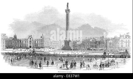 Trafalgar Square Nelson's column 1844 London - Stock Image