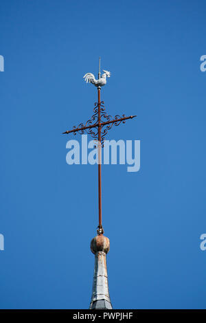 Seine et Marne. Nangis. Saint Martin Church (13th century). The arrow surmounted by the Gallic rooster. - Stock Image
