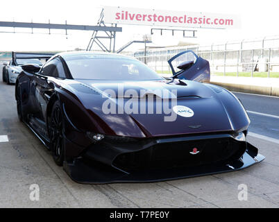 Front view of a  2018 Aston Martin Vulcan AMR Pro in  the pit lane during the 2019 Silverstone Classic Media Day - Stock Image