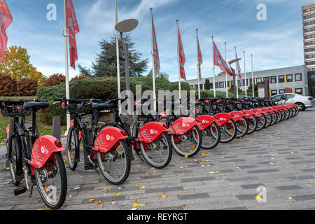 Lille, France - October 12, 2018 : Self-service bikes, integrated with the public transport network of Lille, France - Stock Image