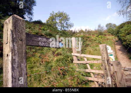 Wooden bridleway signpost in the Peak District National Park Derbyshire UK England GB Great Britain - Stock Image