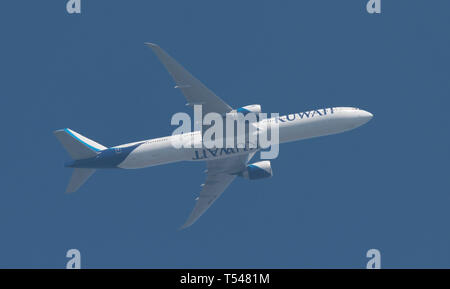 9K-AOM Boeing 777-369 of Kuwait Airways leaving Heathrow Airport on 21st April, 2019 for Kuwait City. - Stock Image