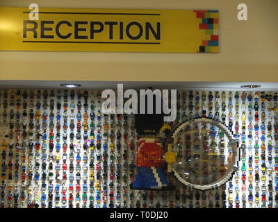 Lego figures on the wall in the reception area of the hotel at the LEGOLAND Windsor Resort UK - Stock Image