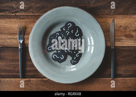 top view of a table set of cutlery with question mark in a plate. concept off diet and what to eat. - Stock Image