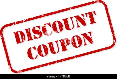 Discount coupon red rubber stamp vector isolated - Stock Image