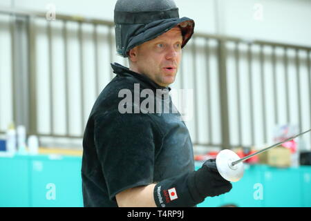 Ajinomoto National Training Center, Tokyo, Japan. 19th Apr, 2019. Matseichuk Oleg (JPN), APRIL 19, 2019 - Fencing : Japan National Team Training Session at Ajinomoto National Training Center, Tokyo, Japan. Credit: Naoki Nishimura/AFLO SPORT/Alamy Live News - Stock Image