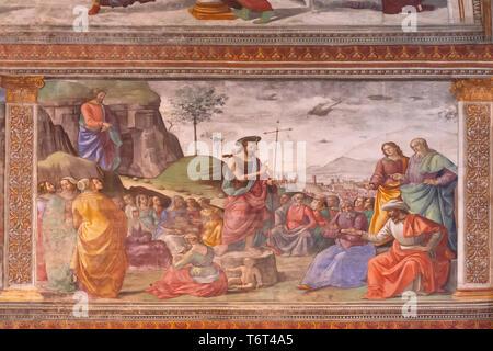 Preaching of St John the Baptist,  Domenico Ghirlandaio, 1485-1490, Cappella Tornabuoni, Tornabuoni Chapel, Basilica di Santa Maria Novella, Church of - Stock Image