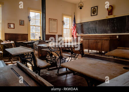 Interior of an old school house in Calico Ghost Town. - Stock Image